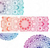 White banners with colorful mandalas. royalty free illustration
