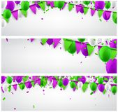 Banners set with flags and balloons. White banners set with green and lilac flags and balloons. Vector illustration Stock Photography