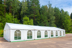 White banquet tent. Assembled and ready for use Royalty Free Stock Photography