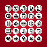 White bar icons set on red background. Set of 25 icons for bar themes Stock Photography