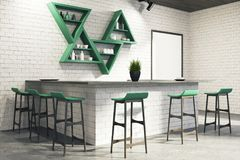 White bar interior corner, stand. Modern bar interior corner with white brick walls, a concrete floor, a bar stand, a framed poster and triangular shelves, a Stock Photo