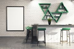 White bar interior, stand and shelves. Modern bar interior with white brick walls, a concrete floor, a bar stand, a framed poster and triangular shelves, a Royalty Free Stock Images