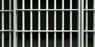White Bar Jail Cell Perspective Locked Stock Photos