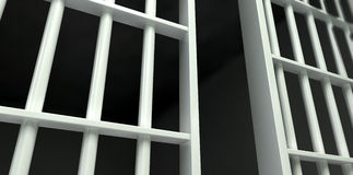 White Bar Jail Cell Perspective Unlocked Royalty Free Stock Photo