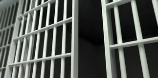 White Bar Jail Cell Perspective Unlocked Stock Photography