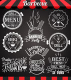White barbecue party collection of icons, labels, signs, symbols and design elements on blackboard Stock Images
