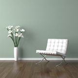 White barcelona chair on green vector illustration