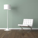 White barcelona chair and lamp on Royalty Free Stock Photos