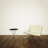 White barcelona chair in modern comfortable interi Stock Images