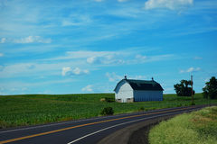White Barn Country Road Stock Photography