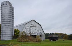 White Barn with Silo Stock Photos