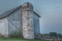 White Barn and Silo Stock Photos