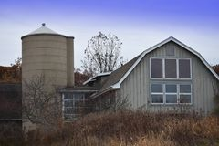 White Barn in Autumn Stock Photography
