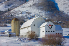 White Barn in Snow. Classic white barn with silo in the snow with hilly background Stock Image