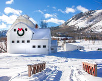 White Barn in Snow Stock Photography