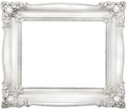 White baroque frame. White decorative baroque frame isolated on white background Stock Photos