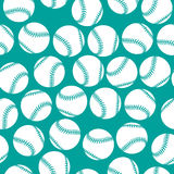 White baseball icons on green background seamless Stock Photography