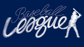White baseball league embroidery stitching text with player Royalty Free Stock Photos