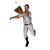 White Baseball Outfielder. White 3D Baseball Outfielder ready for the action Royalty Free Stock Image