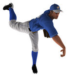 White Baseball Pitcher. White 3D Baseball Pitcher ready for the action Royalty Free Stock Photo