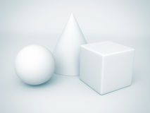 White basic geometric shapes. sphere, cone, cube. 3d render illustration Stock Images