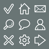White basic web icons Royalty Free Stock Images