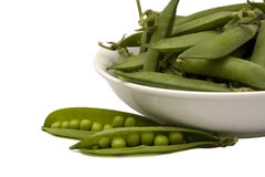 White basin with green peas. White basin with pods of green peas Royalty Free Stock Photo