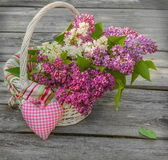 White basket with a branch of lilac and heart Royalty Free Stock Photos