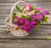 White basket with a branch of lilac and heart Stock Photos