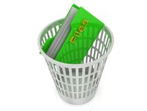 White basket with a folder for files Stock Photo