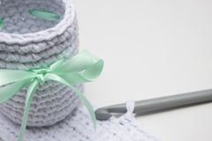 The white basket is made of white knitting yarn Stock Photo