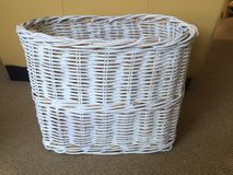White Basket. White wicker basket with chalk paint Stock Photo
