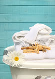 White Basket With Laundry Stock Photography
