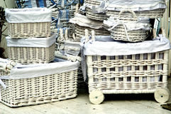 White baskets. White wicker baskets royalty free stock images