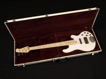 White Bass Guitar In Red Velvet Lined Case Royalty Free Stock Images