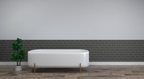 White bath is on the clean wood floor empty room interior background home designs ,3drendering Home improvement sanitary ware. White bath is on the clean wood royalty free illustration