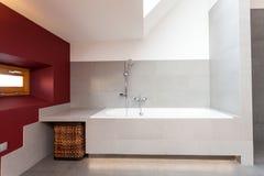 White bath in modern bathroom royalty free stock image