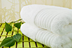 White Bath Towels. Folded white bath towels and ivy plant Stock Images