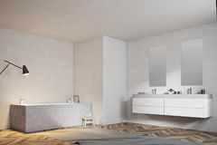 White bathroom, angular tub and sink, side view. Angular bathtub and a double sink in a modern bathroom with a wooden floor and white walls. A side view 3d royalty free illustration