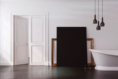 White bathroom, black poster toned Stock Image
