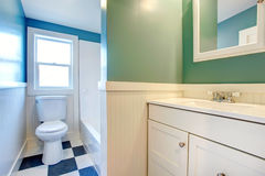 White bathroom with green and blue walls Royalty Free Stock Photos