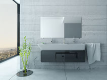 White bathroom interior with concrete walls and tiled floor. 3D Rendering of White bathroom interior with concrete walls and tiled floor Royalty Free Stock Photo