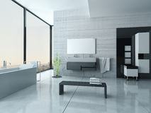 White bathroom interior with concrete walls and tiled floor Stock Photography