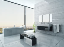White bathroom interior with concrete walls and tiled floor. Image of White bathroom interior with concrete walls and tiled floor Royalty Free Stock Photography