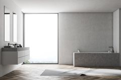 White bathroom interior, gray tub. Bathroom interior with a wooden floor, white walls, a loft window, a marble angular tub and a double sink. A carpet on the vector illustration
