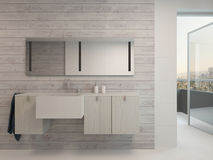 White bathroom interior with modern furniture Stock Images