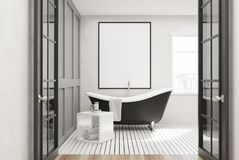 White bathroom, black tub, poster. White bathroom interior with a white wooden floor, a window, a framed poster and a black tub. 3d rendering mock up vector illustration