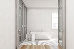 White bathroom, white tub. White bathroom interior with a white wooden floor, a window, a glass door and a white tub. 3d rendering mock up vector illustration