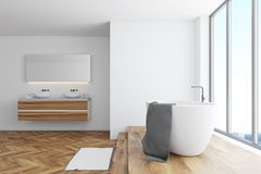 White bathroom corner, tub and double sink. White bathroom interior with a wooden floor, a white tub, and a double sink. A panoramic window. Side view. 3d stock illustration