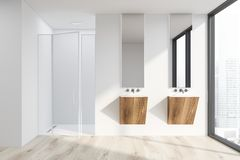 White bathroom with sink and shower stock illustration